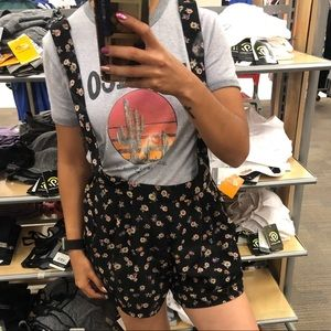 Black Floral Overall Shorts/ Romper